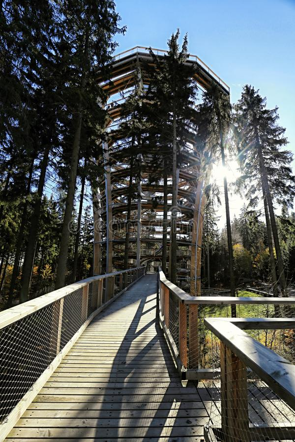 Modern outlook tower with wooden pathways. Over the forest tree tops royalty free stock images