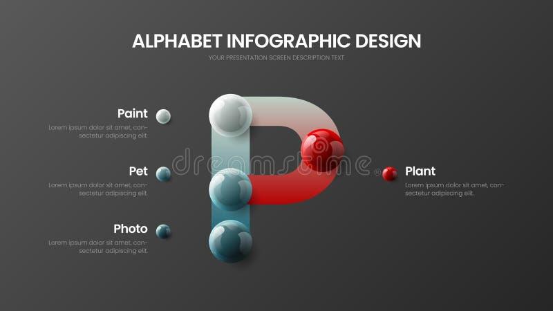 Modern p-symbool vectoralfabet 4 de presentatiemalplaatje van optie infographic 3D realistisch kleurrijk ballen royalty-vrije illustratie