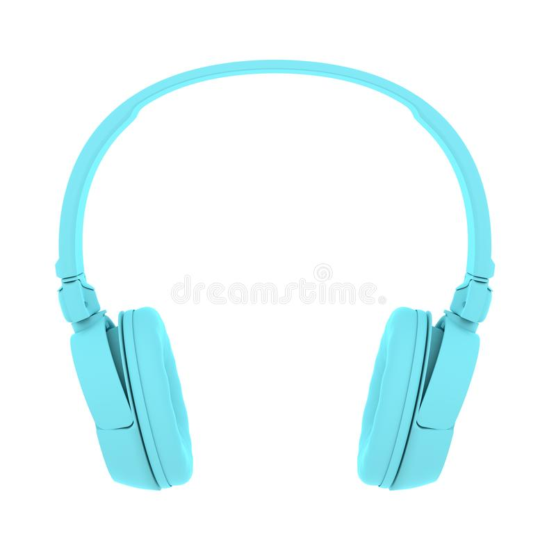 Painted Blue Headphones. Modern Painted Blue Headphones on Isolated on white Background. Creative Design in Minimal Style. Trendy paint effect. 3D render vector illustration