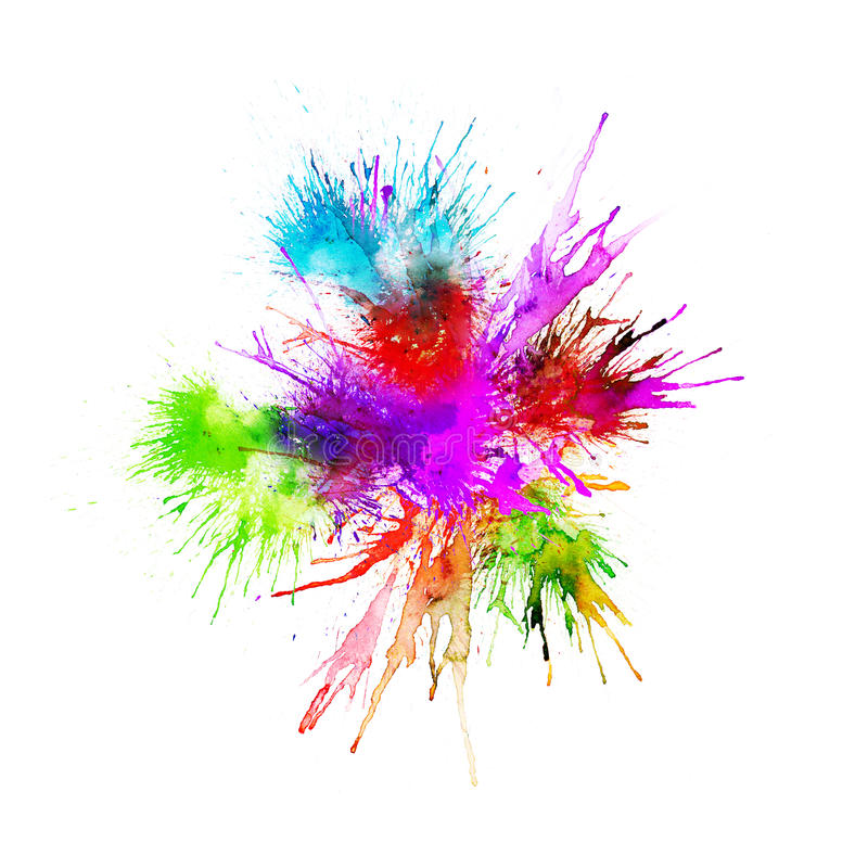 Modern painting - abstract watercolor background - splashes, drops on paper or canvas, vector stock illustration