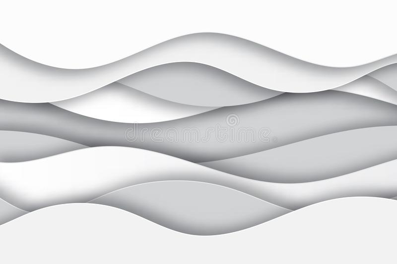 Modern paper art cartoon abstract white and gray water waves royalty free illustration