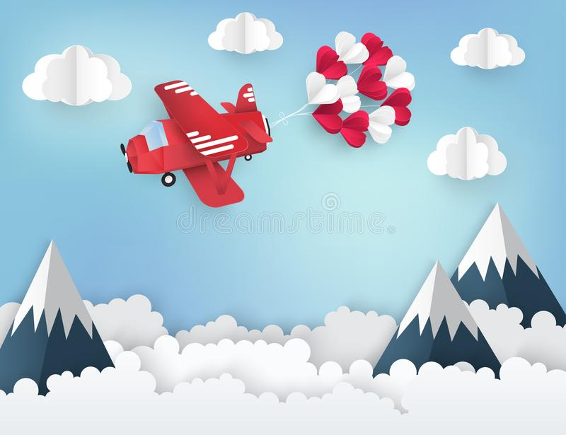 Modern paper art origami background. Red airplane. With bunch of paper heart balloons, fluffy clouds, high mountains and place for text. Valentine`s day vector illustration