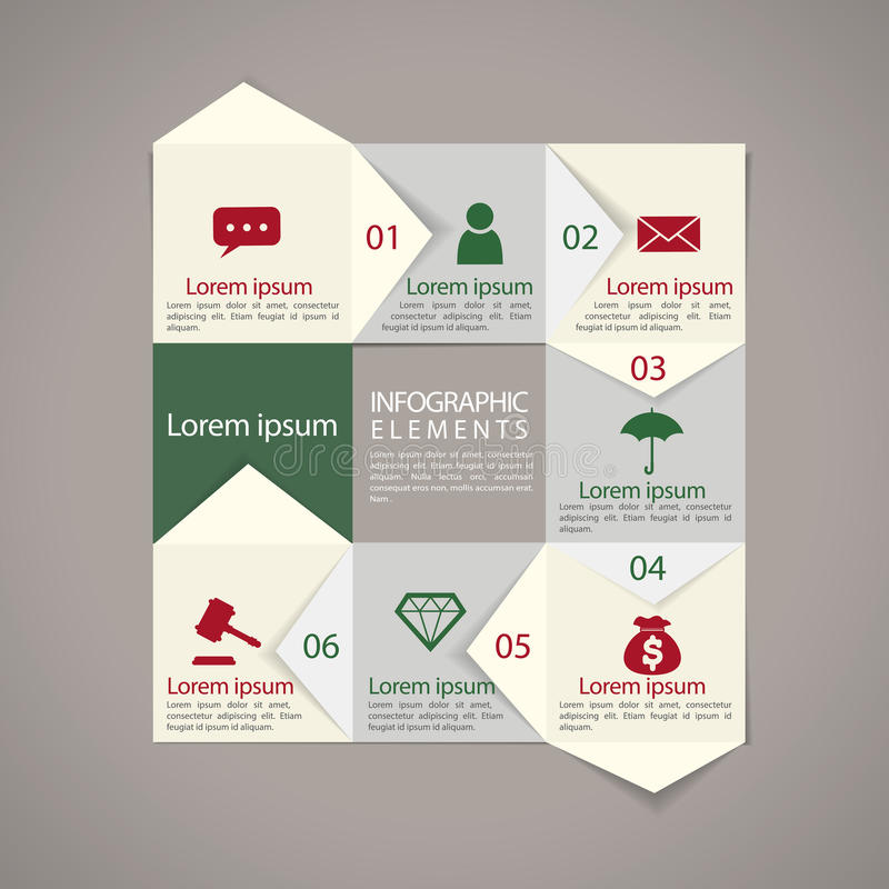 Modern paper texture flowchart infographic elements. Template royalty free illustration