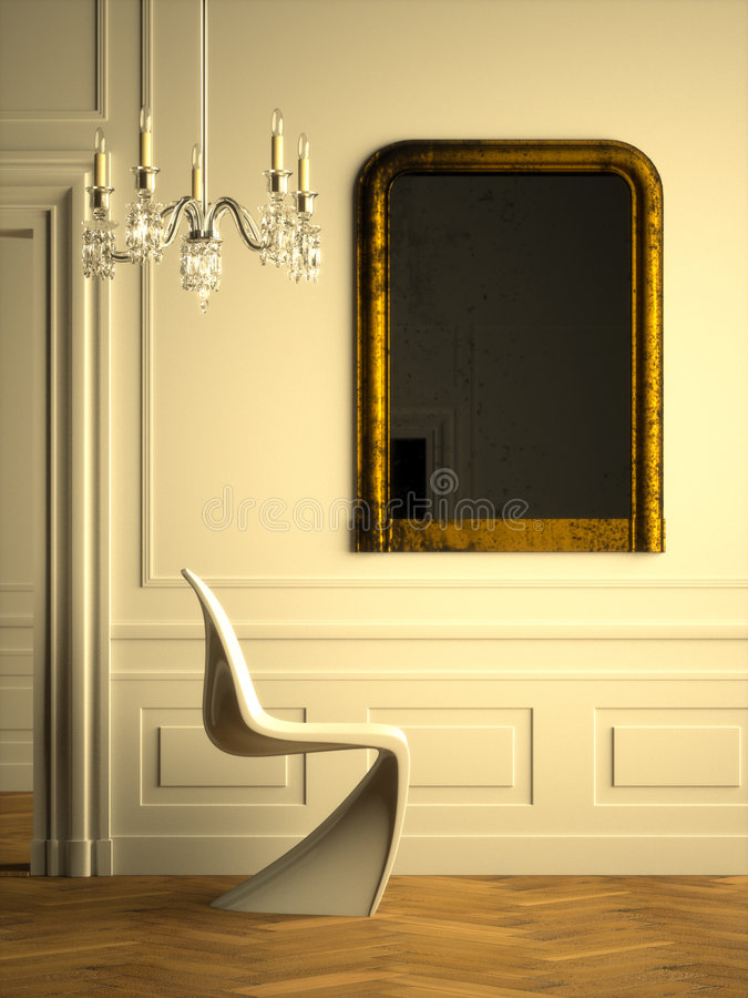 Modern Parisian interior Warm royalty free illustration
