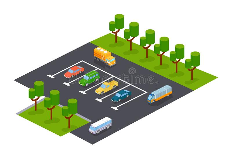 Modern parkering med parkeringszonen för bilar och andra medel vektor illustrationer