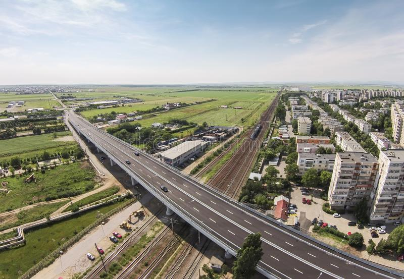 Modern passage over railway , Ploiesti , Romania. Infrastructure project in Ploiesti , Romania, modern bridge over railways for traffic optimization at one of stock photos