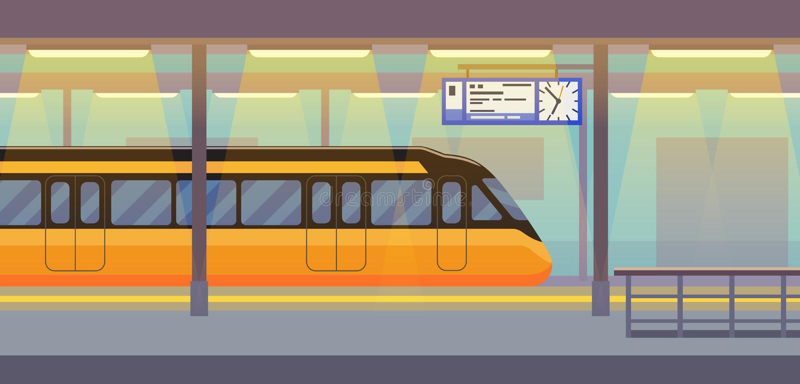 Modern passenger electric train in tunnel underground, subway, metro stock illustration