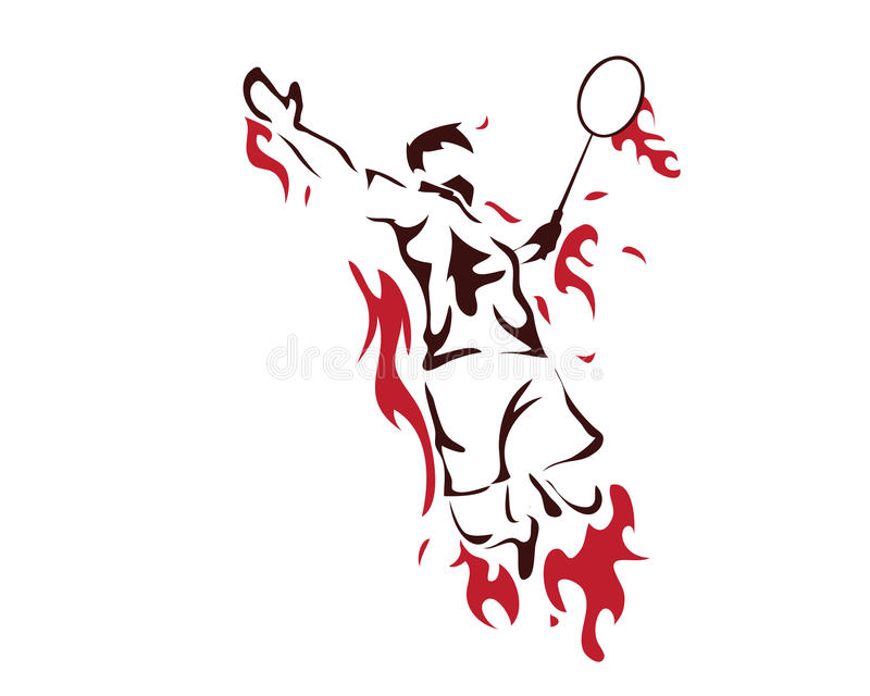 Modern Passionate Badminton Player In Action Logo - Passionate Winning Moment Smash stock illustration