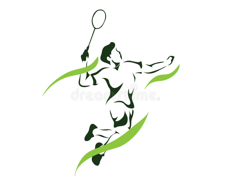 Modern Passionate Green Flame Game Point Smash Badminton Player In Action Logo royalty free illustration