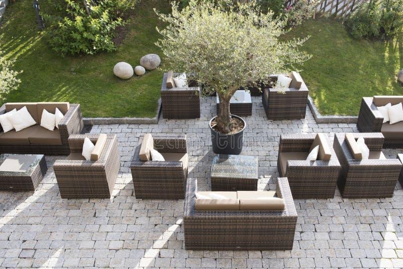 Modern patio, outdoor seats stock photos