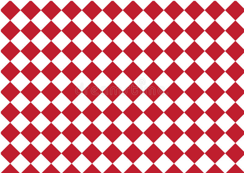 Modern pattern checkered ,red and white textile print chess, ab royalty free illustration