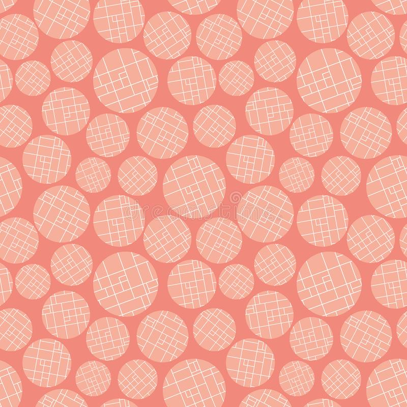 Modern peach and white colored grid textured circles on warm pink background. Seamless abstract vector pattern. Perfect vector illustration