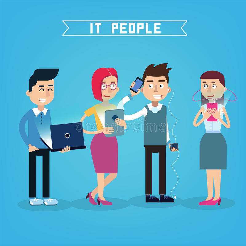 Modern People with Electronic Gadgets libre illustration
