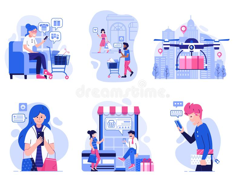 Modern People on Online Mobile Shopping in Flat royalty free illustration