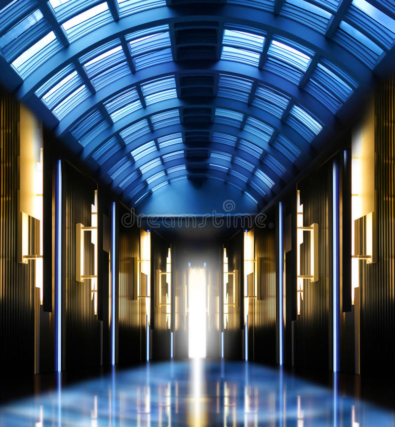 Modern Perspective Glass Roof Corridor Stock Photo
