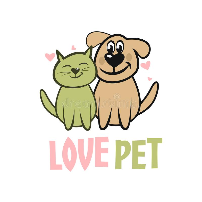 Modern pet dog and cat logo vector illustration