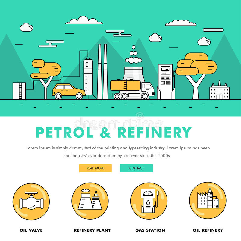 Modern petrol industry thin block line flat color icons and comp royalty free illustration