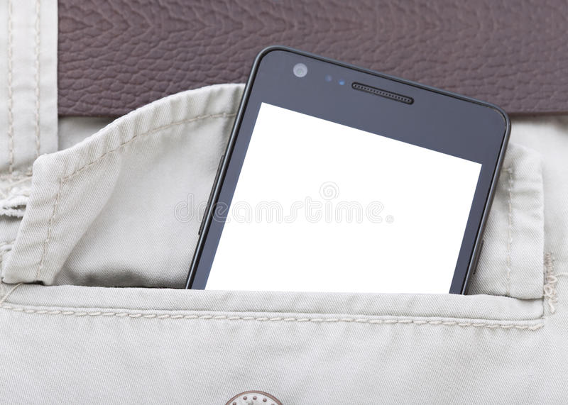 Modern phone in jeans pocket displaying screen stock photos