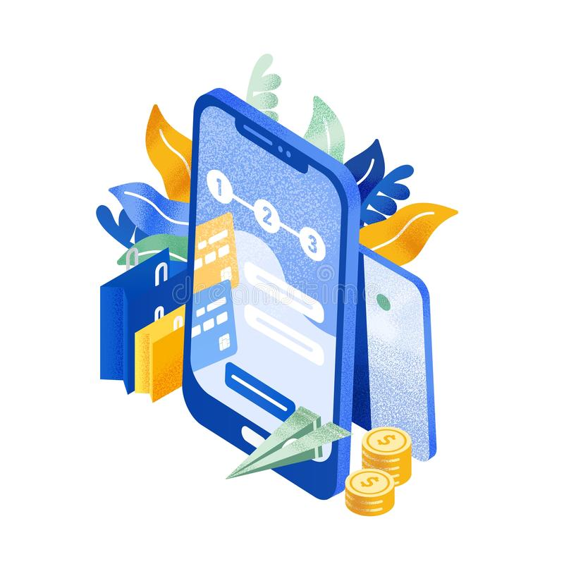Modern phone or smartphone, flying paper plane, coins and shopping bags. Instant money transfer service, electronic. Banking, mobile payment. Colorful vector royalty free illustration