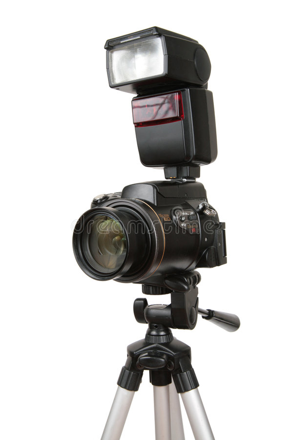 Download Modern Photo Camera With Flash On Tripod Stock Image - Image: 4386317