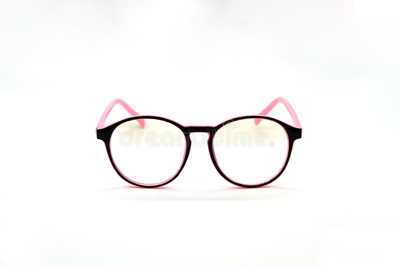 Modern Pink and Black eye glasses isolated on white background royalty free stock photo