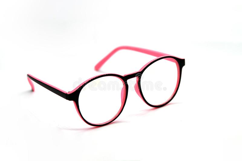 Modern Pink and Black eye glasses isolated on white background royalty free stock images