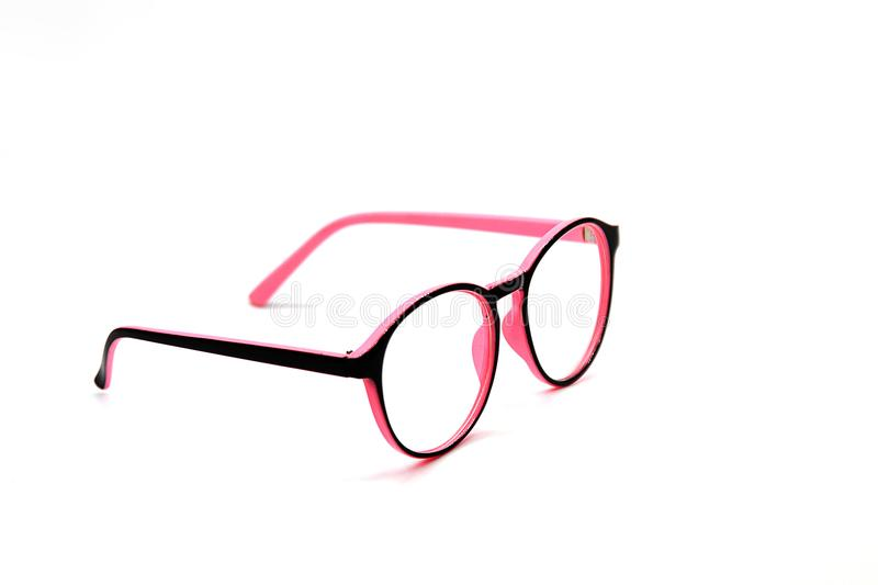 Modern Pink and Black eye glasses isolated on white background royalty free stock photos