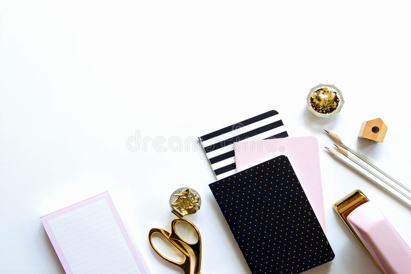 Modern pink desktop in pretty pink and black royalty free stock images