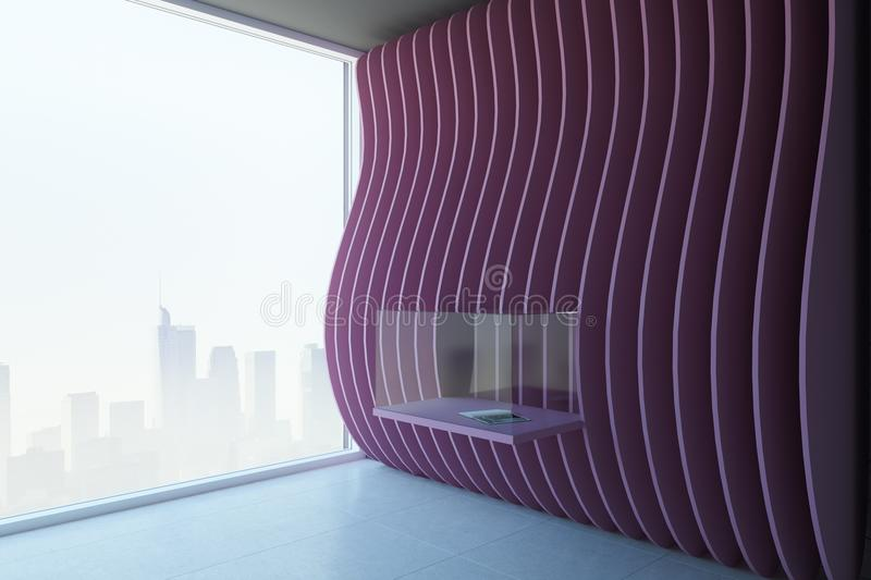 Modern pink exposition room. With installation and city view. Museum and gallery concept. 3D Rendering stock illustration