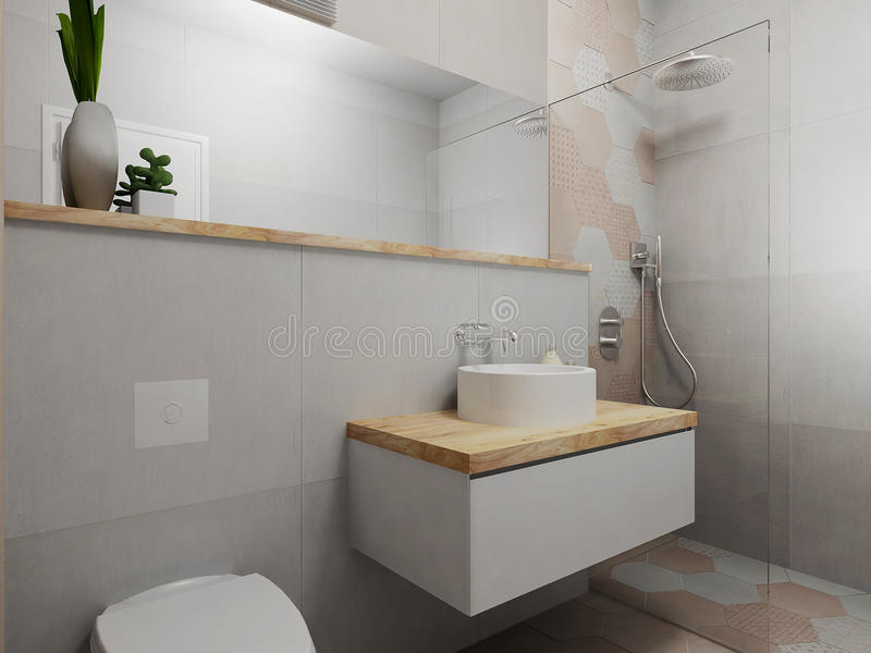 Modern pink and grey bathroom. Interior of modern pink gray and wood bathroom, long recess, 3D render stock illustration