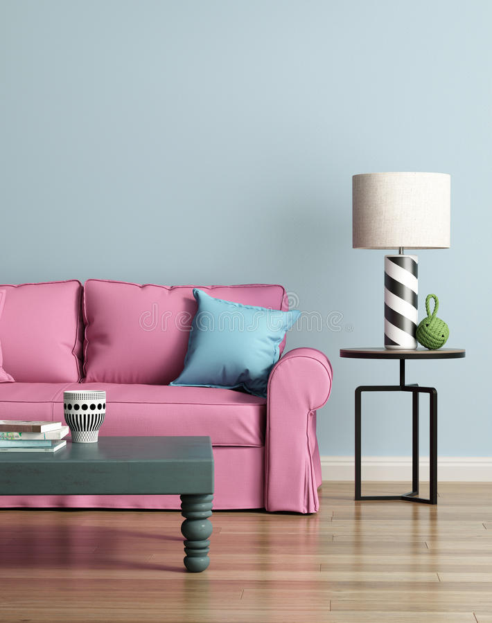 Modern pink sofa in a light blue luxury interior. Rendering of a Modern pink sofa in a light blue luxury interior stock illustration