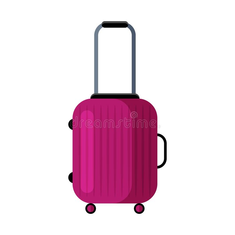 Modern pink travel suitcase. Flat vector icon. Isolated object on white background. Modern pink travel suitcase. Transportation of Luggage on trips. Wheeled vector illustration