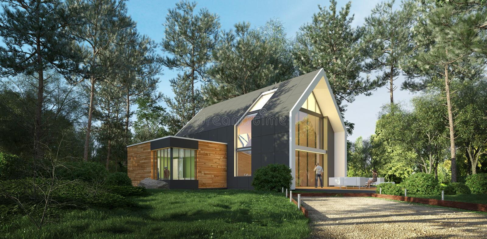 Modern pitched roof house in nature stock images