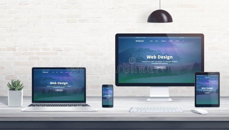 Modern plan design, svars- webbplats på åtskilliga apparater royaltyfri illustrationer