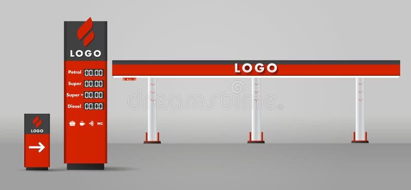 Modern plan designillustration för detaljerad vektor av gas- eller bensinbensinstationen med vägmärket och priser stella stock illustrationer