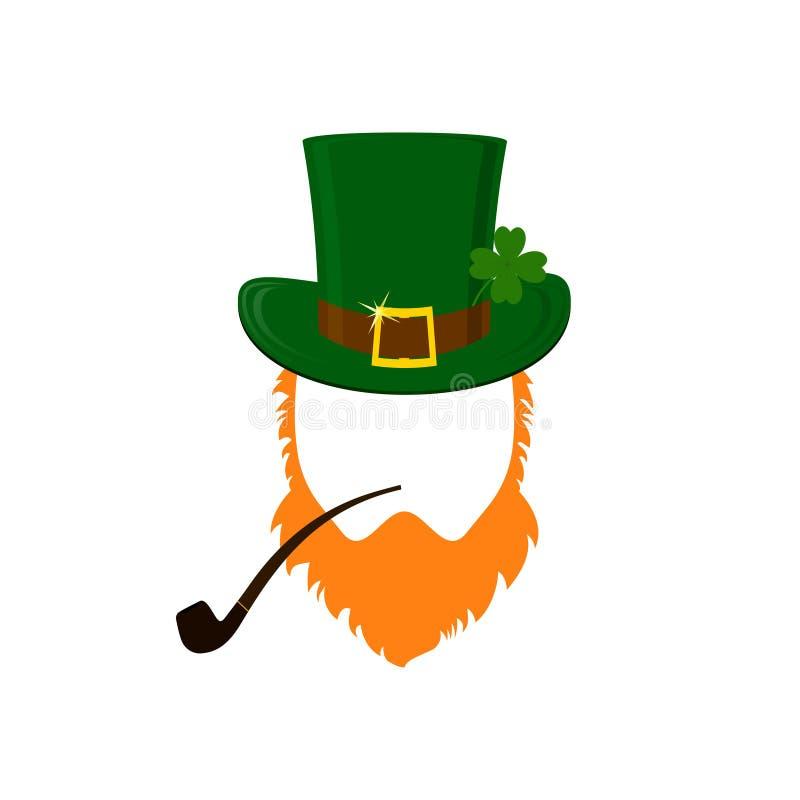 Modern plan designsymbol för vektor på troll för dag för St Patrick ` s med den gröna hatten, rött skägg och att röka röret och i royaltyfri illustrationer