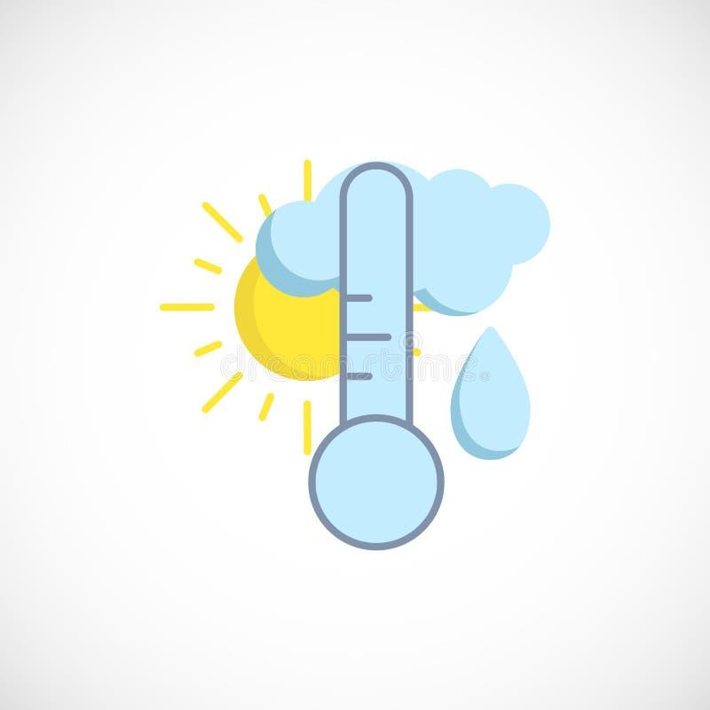 Modern plan förutsedd symbol av ett regnigt väder för dag på vit royaltyfri illustrationer
