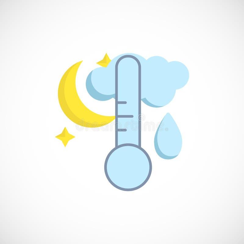 Modern plan förutsedd symbol av ett regnigt väder för natt på vit royaltyfri illustrationer