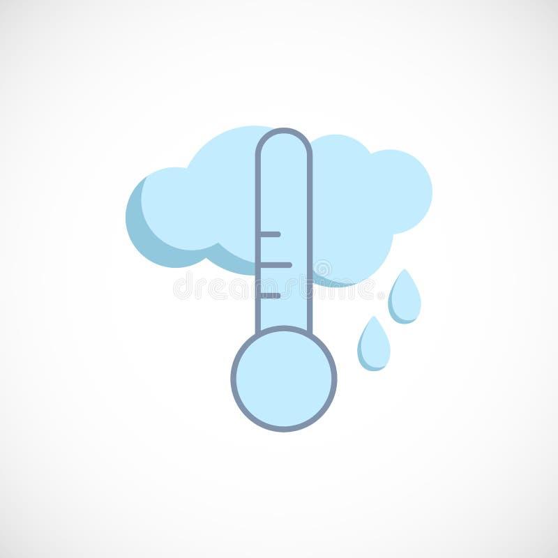 Modern plan förutsedd symbol av ett regnigt väder på vit stock illustrationer