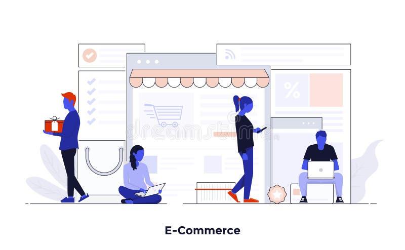 Modern plan illustration för designbegrepp - E-kommers royaltyfri illustrationer