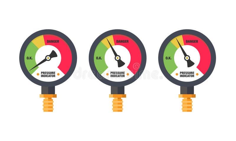 Modern plan illustration för manometerindikatormått stock illustrationer