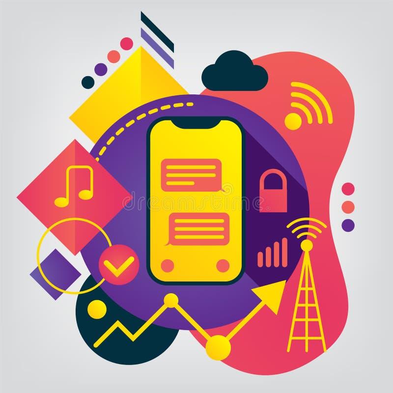 Modern plan illustration för mobil teknologi royaltyfri illustrationer