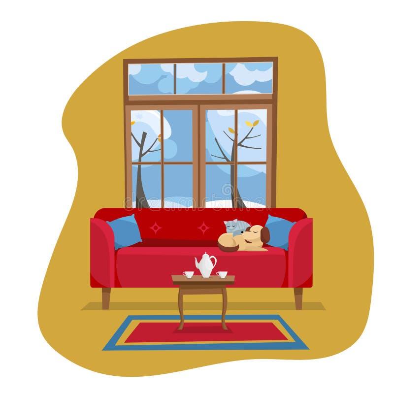 Modern plan inre för vardagsrum för designbegrepp Röd soffa med tabellen, matta, porslinuppsättning i rum med det stora fönstret  vektor illustrationer