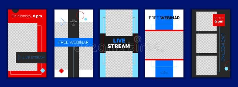 Modern plan Instagram berättelsemall, för blogg och affär, rengöringsdukonline-strömmande banerbegrepp stock illustrationer
