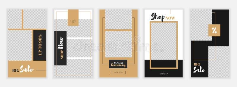 Modern plan Instagram berättelsemall, för blogg och försäljningar, rengöringsdukonline-shoppa banerbegrepp vektor illustrationer