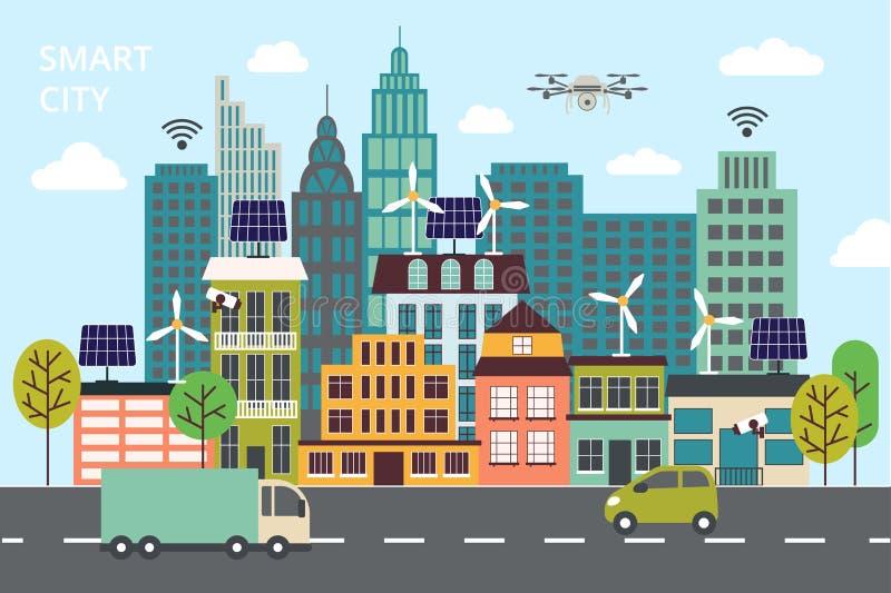 Modern plan linje design, begrepp av den smarta staden, teknologier av framtida och stads- innovationer royaltyfri illustrationer
