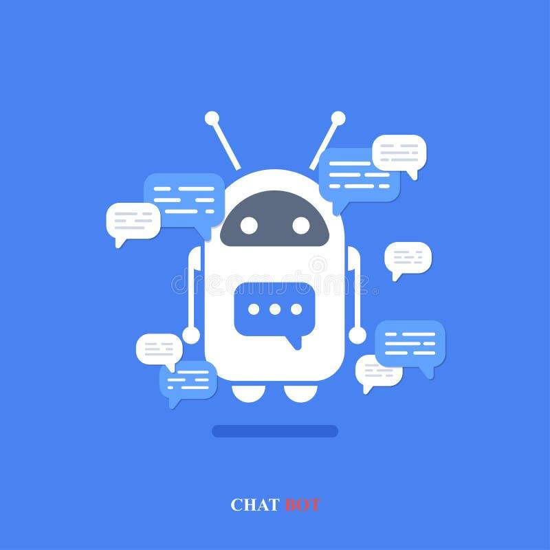 Modern plan pratstundbot för vektor med anförandebubblasymboler på blå bakgrund stock illustrationer
