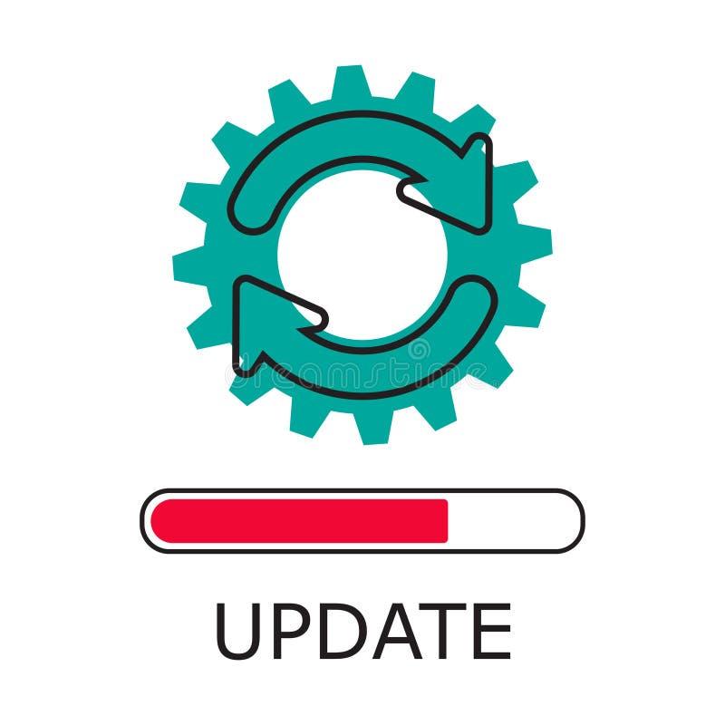 Modern plan redigerbar linje designvektor, begrepp av symbolen för uppdateringapplikationframsteg vektor illustrationer