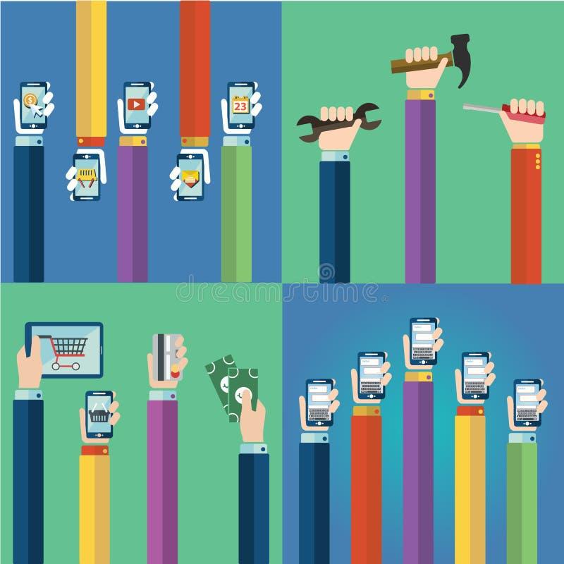 Modern plan symbolsvektorsamling av hjälpmedel, mobiltelefon, digital minnestavla och andra apparater genom att använda med hands vektor illustrationer