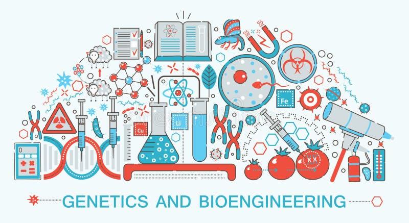 Modern plan tunn linje designbiologi-, genetik- och bioengineeringteknologi vektor illustrationer